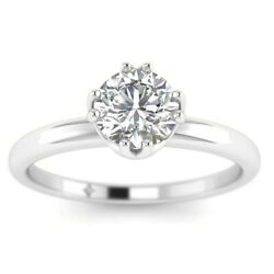 1ct F-vs2 Diamond Antique Engagement Ring 14k White Gold Any Size