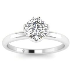 1ct D-si1 Diamond Antique Engagement Ring 14k White Gold Any Size