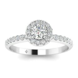 1.25ct D-si1 Diamond Single Halo Engagement Ring 18k White Gold Any Size