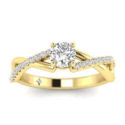 1.15ct D-si1 Diamond Twist Engagement Ring 14k Yellow Gold Any Size