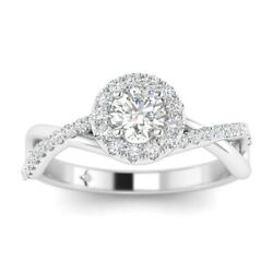 1.3ct D-si1 Diamond Single Halo Engagement Ring 18k White Gold Any Size