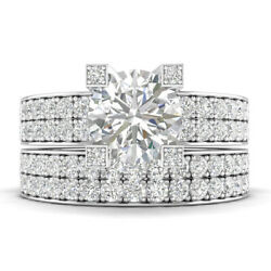 2.25ct D-si1 Diamond Wide Band Engagement Ring 14k White Gold Any Size