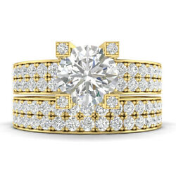 2.25ct D-si1 Diamond Pave Engagement Ring 14k Yellow Gold Any Size
