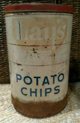 Vintage H.w. Lay's 1940's Potato Chip Advertising Tin, Very Rustic And Weathered