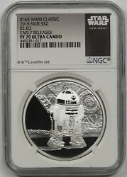 2016 Niue Silver 2 Star Wars R2-d2 Early Releases Ngc Pf 70 Ultra Cameo