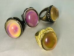 4 X Mood Rings - Clearance Flaws - Antique 8 Bronze 9 Gold Shade 8 Bronze 9