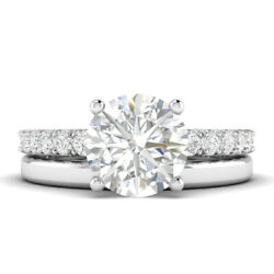 1.28ct G-vs1 Diamond With Accspts Engagement Ring 18k White Gold Any Size