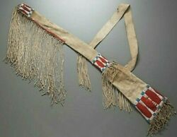 Indian Beaded Rifle Scabbard Sioux Style In Suede Leather Native American S506