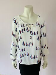 Joules Ivory Cream Joely Boating Print Blouse Smock Top 12 Peasant Boho Boat