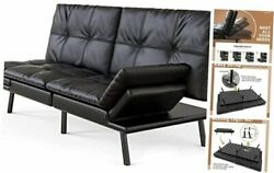 Futon Sofa Bed Convertible Sleeper Sofa Faux Leather Couch Daybed With Futon