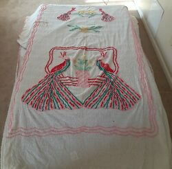 Vintage Double Peacock Chenille Bedspread Cotton Cutter/repaired 86x104 Huge