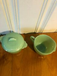Fire King Jadeite Sugar Bowl With Lid And Creamer Cupandnbspvintage 1950and039s