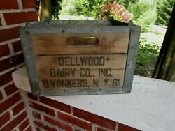 Vintage Wooden Milk Bottle Crate Wood Milk Box Dellwood Dairy Yonkers Ny