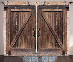 Ambesonne Rustic Curtains Wooden Barn Door In Stone Farmhouse Image Vintage Des