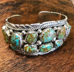 Vintage Navajo Sterling Silver Turquoise Cuff Bracelet - Mary And Richard T Thomas