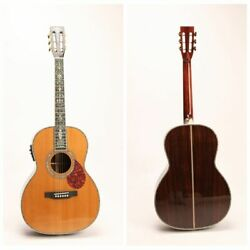 00045 Electric Acoustic Guitar Solid Red Spruce Top Full Abalone Inlay Gigbag
