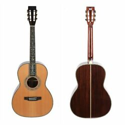 00045 Acoustic Guitar Full Solid Red Spruce Top Real Abalone Inlay Include Case