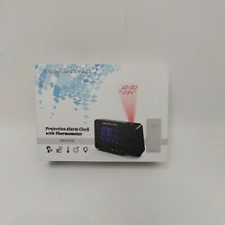 Digital Projection Alarm Clock w Weather Station Indoor Outdoor Thermometer B