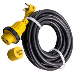 25 Foot 30 Amp Rv 10 Gauge Electrical Power Cord With Connector Plug And Led