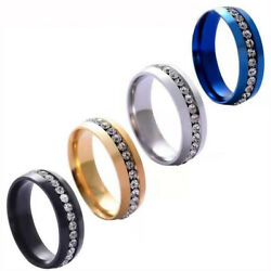 Fashion 6mm Gold Silver Stainless Steel Zircon Ring For Menandwomen Charm Jewelry