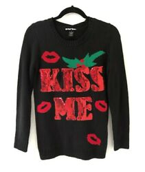 Planet Gold Christmas Sweater Embroidered Shiny Kiss Me Under The Mistletoe Sz S