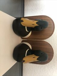 Decoy Co. St. Cloud Mn. Pair Of Solid Wood Duck Book Ends