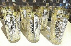 Georges Briard Culver Barware Highball Glasses 22k Gold Paisley Signed Mcm