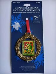 Usps Christmas Stamp Ornament Green Santa Playing Drum .37 2003 New On Card