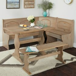 Dining Kitchen Corner Nook 3 Piece Bench Breakfast Booth Table Rustic Wood