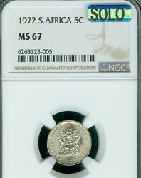1972 South Africa 5 Cents Ngc Ms-67 Solo Finest Grade Mac Spotless