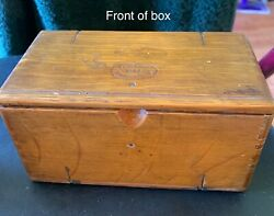 Antique Wood Box Which Includes Accessories For An Old Sewing Machine