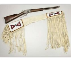 Indian Beaded Rifle Scabbard Sioux Style Suede Leather Native American S508