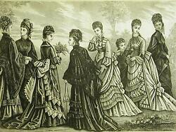 Victorian Fashion Ladies Spring Wraps And Dresses 1875 Antique Art Print Matted