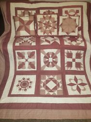 Vintage Hand Made And Quilted Queen+ Sampler Quilt 82x102 W/ 3 Matching Pillows