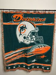 """Miami Dolphins Vintage Woven Throw Blanket Tapestry Nfl 52""""x44"""""""