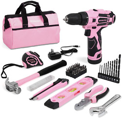 Workpro 12v Pink Cordless Drill And Home Tool Kit, 61 Pieces Hand Tool For Diy,