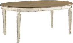 Signature Design By Ashley Realyn Dining Room Extension Table Chipped White
