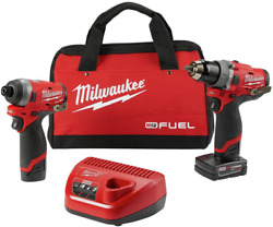 Milwaukeeand039s Electric Tools 2598-22 M12 Fuel 2 Pc Kit- 1/2 Hammer Drill And 1/4 I