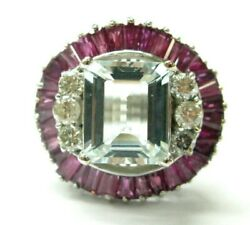 Grand Aigue-marine Ruby And Bague Diamant 14kt Or Blanc 8.90ct