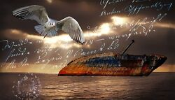 Oil Painting Handpainted On Canvas A Singing Bird,a Ship In The Sea @n1553