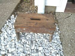 Vintage Antique Primitive Amish Wooden Step Stool Early 1900s Patina