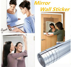 Mirror Wall Stickers Art Decals Home Bathroom Room Film Decor Roll Self Adhesive