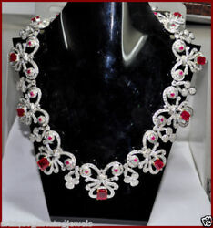 925 Silver Rose Cut Victorian Antique Style Natural Ruby And Diamond Necklace Set
