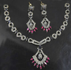 925 Silver Natural Diamond Black Onyx Ruby Rose Cut Victorian Style Necklace
