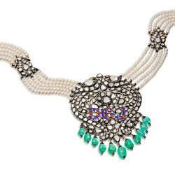 925 Silver Rose Cut Victorian Look Natural Diamond Emerald And Pearl Necklace