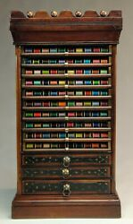 Excellent And Rare Antique Corticelli 13-drawer Cherry Spool Cabinet.