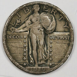 1919-d Standing Liberty Quarter. Natural Uncleaned. Vf-xf. 162477