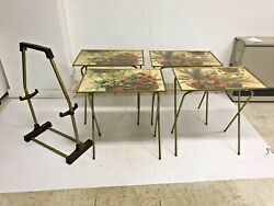 Vintage Folding Snack Table Set W Storage Stand Side Tv Cart Mid Century 60s 70s
