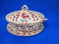 Pv Peasant Village Italian Painted Rooster Red Soup Tureen Ladle And Oval Platter