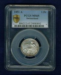 Switzerland 1851-a 1 Franc Silver Coin Uncirculated Pcgs Certified Ms-65